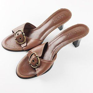 Franco Sarto Brown Leather Buckle Mules Sz 10
